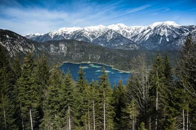 Eibsee, Bavarian Alps, Germany with Snow in Mountains by Sheila Haddad
