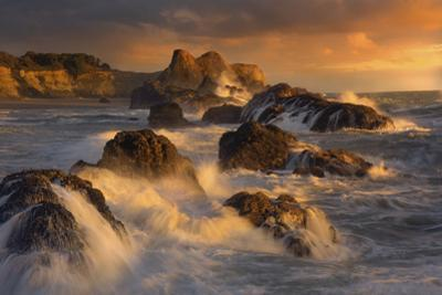 Exploding waves off rocks on Seal Rock in Oregon by Sheila Haddad