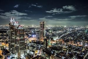 Government buildings of Tokyo at night, Japan by Sheila Haddad