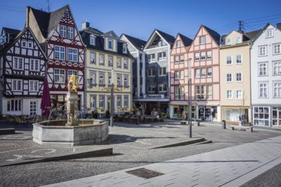 Historical section of Hachenburg, Germany downtown with the famous fountain by Sheila Haddad