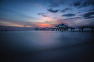 Long exposure of Clearwater Beach Pier, Florida. At sunset by Sheila Haddad