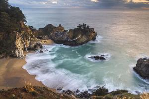 Overview of golden light on McWay Falls, Big Sur by Sheila Haddad