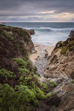 Stream flowing through a canyon into the Pacific Ocean, California by Sheila Haddad