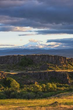 Sunset glow on tiered hills with snow-covered Mt. Hood in background by Sheila Haddad