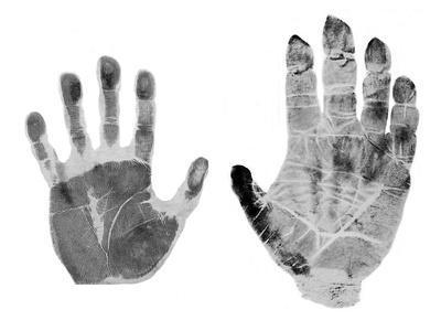 Human And Gorilla Handprint