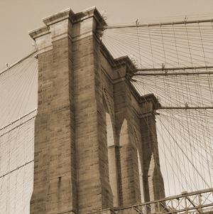 Sepia Brooklyn Bridge by Sheldon Lewis