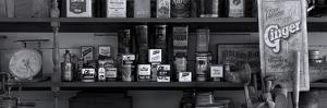 Shelf of old general store in historic Chippewa City, Cook County, Minnesota, USA