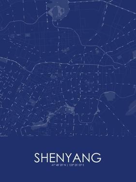 Shenyang, China Blue Map