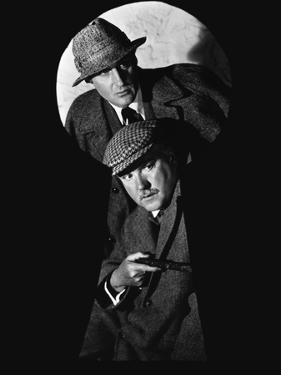 SHERLOCK HOLMES Basil Rathbone and Nigel Bruce (b/w photo)