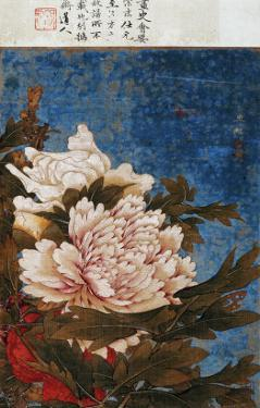 Peonies, Active Mid-14th Century by Shi Gang