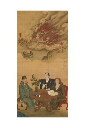 Hanging Scroll Depicting 'A Meeting of Japan, China and the West'