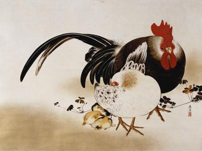 Cockerel, Hen and Chicks, 1892 (Hanging Scroll, Colored Lacquer on Prepared Paper)