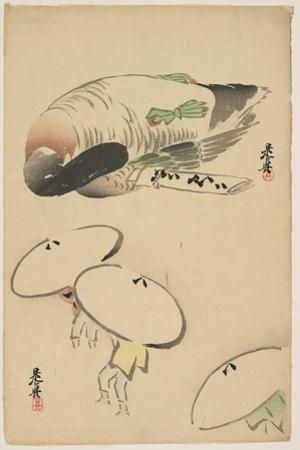 Pheasant/Three Men with Umbrellas