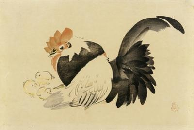 Rooster, Hen, and Chicks, Meiji Era, 1870-79