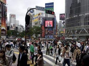 Shibuya Crossing in Front of the Shibuya Train Station is One of Tokyo's Busiest City Centers