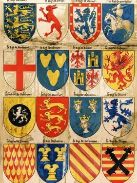 Shields with Arms of Mostly Mythical Sovereigns, Made by An English Painter, 1400s