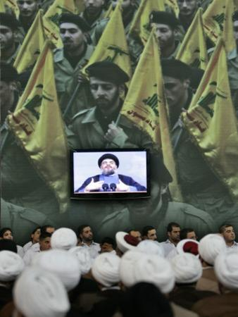 Shiite Cleric Men Listen to Hezbollah Leader Sheik Hassan Nasrallah Giving Speech, Beirut, Lebanon