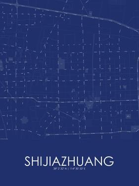 Shijiazhuang, China Blue Map