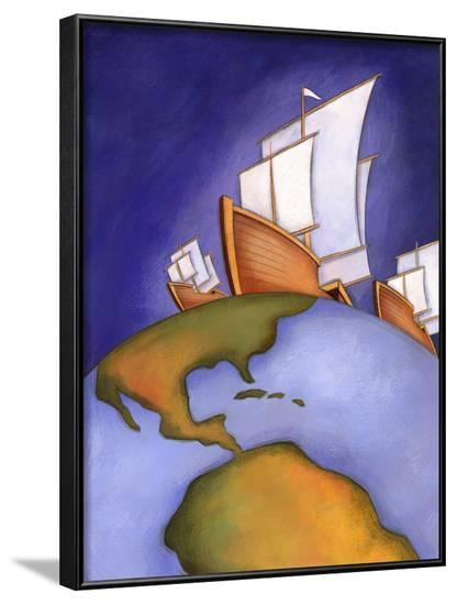 Ships of Christopher Columbus Sailing on Earth--Framed Photo