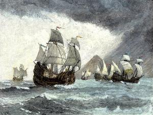Ships of Ferdinand Magellan Rounding Tierra del Fuego to Circumnavigate the Earth 1519 to 1521