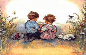 Reading - Alfie Illustrated Print by Shirley Hughes