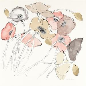 Black Line Poppies II Watercolor Neutral by Shirley Novak