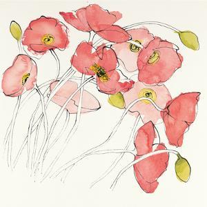 Black Line Poppies II Watercolor by Shirley Novak