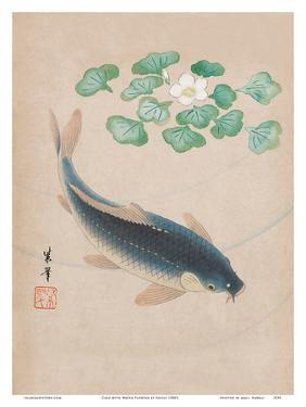 Carp with Water Flowers by Shisui