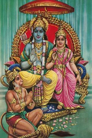Shiva and Parvati with Hanuman