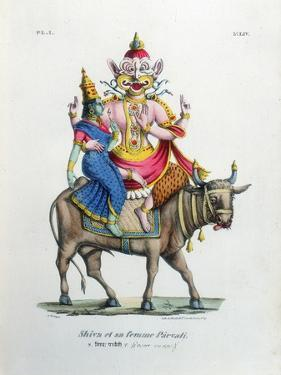Shiva, One of the Gods of the Hindu Trinity (Trimurt) with His Consort Parvati, C19th Century by A Geringer