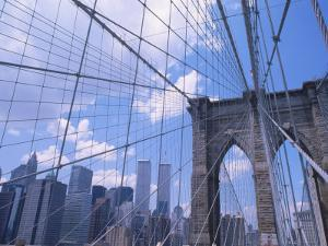 Brooklyn Bridge with World Trade Center Towers by Shmuel Thaler