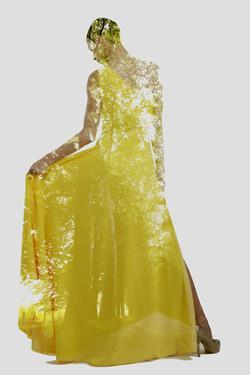 Double Exposure of Woman in Fashion Dress with Nature Tree Branches Background by shock