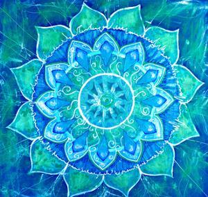 Abstract Blue Painted Picture with Circle Pattern, Mandala of Vishuddha Chakra by shooarts
