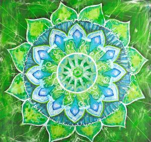 Abstract Green Painted Picture with Circle Pattern, Mandala of Anahata Chakra by shooarts