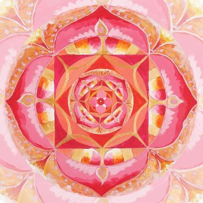 Abstract Red Painted Picture With Circle Pattern, Mandala Of Muladhara Chakra