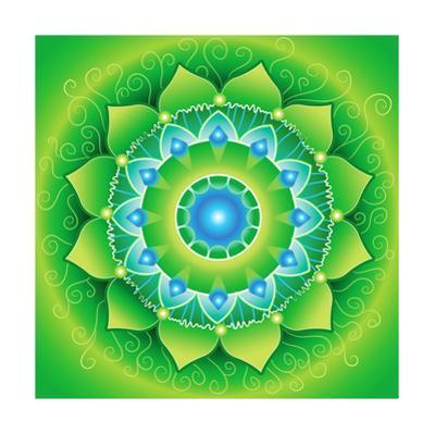 Circle, Bright Green Mandlala Of Anahata Chakra by shooarts