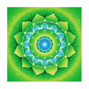 Circle, Bright Green Mandlala Of Anahata Chakra by shooarts