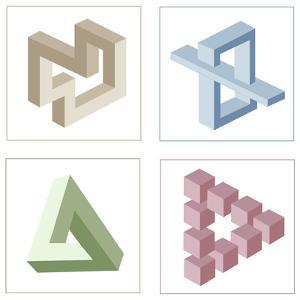 Different Multicolored Optical Illusions Of Unreal Geometrical Objects by shooarts