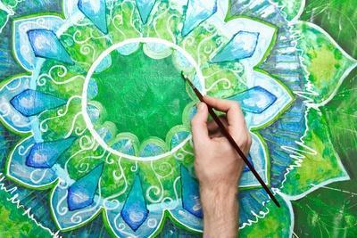 Man Painting Bright Green Picture With Circle Pattern, Mandala Of Anahata Chakra
