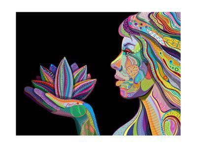 Woman Face With Multicolored Indian Pattern Holding Lotus Flower, Side View, Digital Painting by shooarts