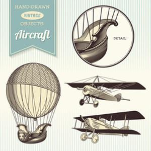 Hand-Drawn Vintage Aircraft Illustrations - Hot Air Balloon, Airplane and Biplane by shootandwin