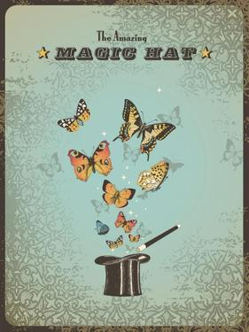 Magic Poster with Hat, Wand and Butterflies by shootandwin
