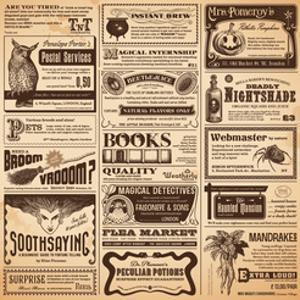 Magical Newspaper Page with Classifieds - Perfect for Halloween by shootandwin
