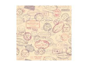 Seamlessly Tiling Postage Themed Pattern with Vintage Stamps by shootandwin