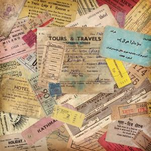 Vintage Travel Background Made Of Lots Of Old Tickets by shootandwin