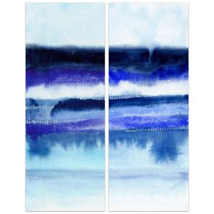 """""""Shorebreak Abstract AB"""" Frameless Free Floating Tempered Glass Panel Graphic Wall Art"""