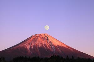 Mount Fuji and Full Moon, Shizuoka Prefecture by SHOSEI/Aflo