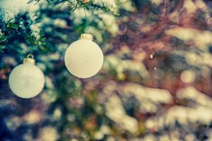Two Hanging White Christmas Baubles - Retro, Faded by SHS Photography