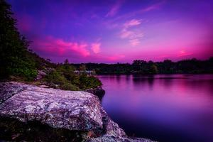 Violet Sunset over A Calm Lake by SHS Photography