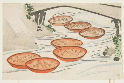 Sake Cups in a River, C.1854-59